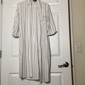 NWOT! Express Long Line Striped Button Up Top